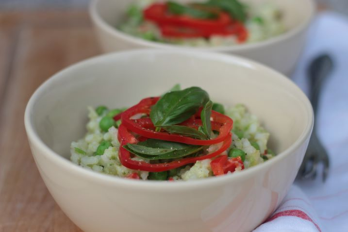 Hráškové rizoto s bazalkovým pestem